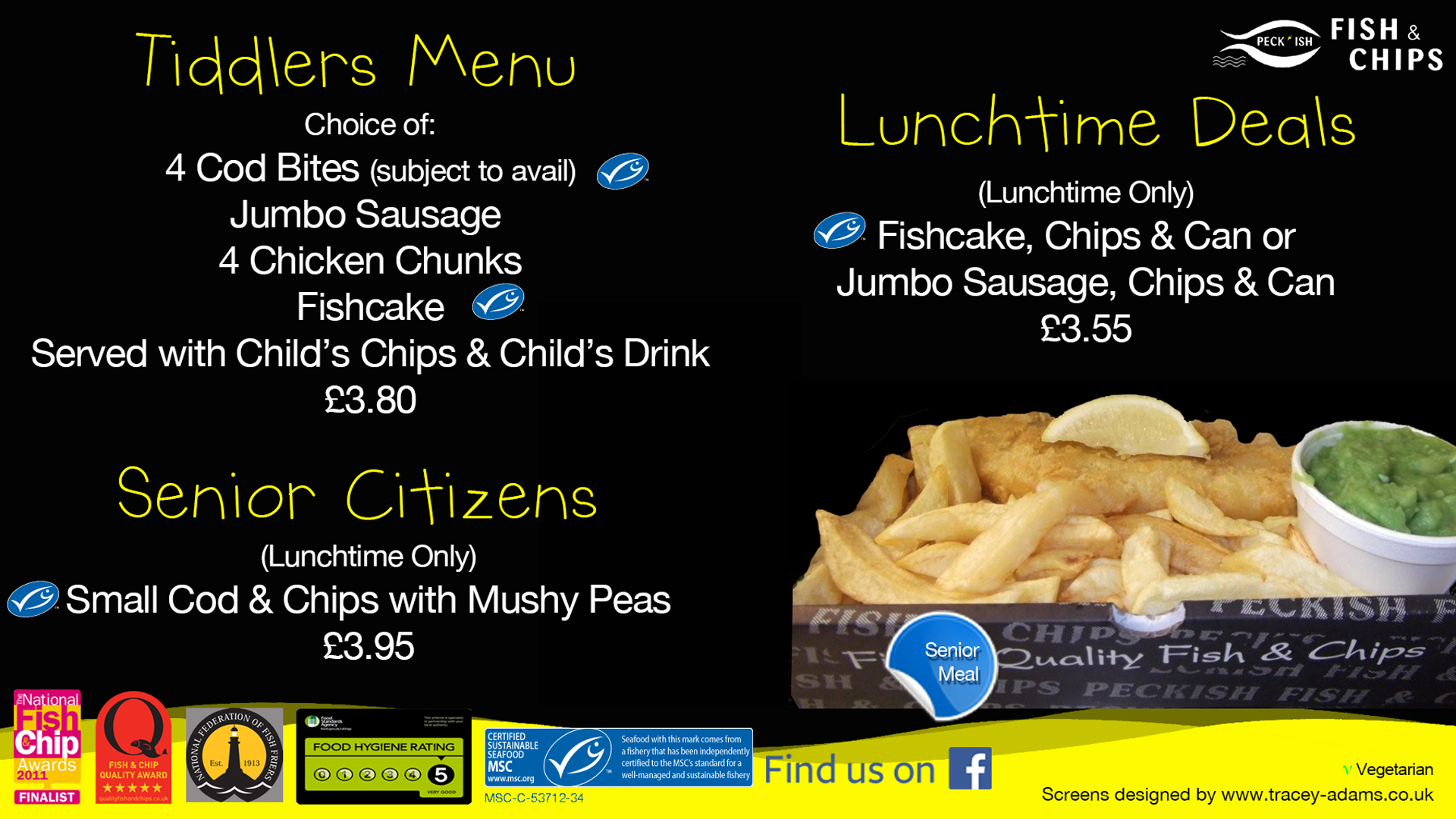 Peckish fish and chips menu 4