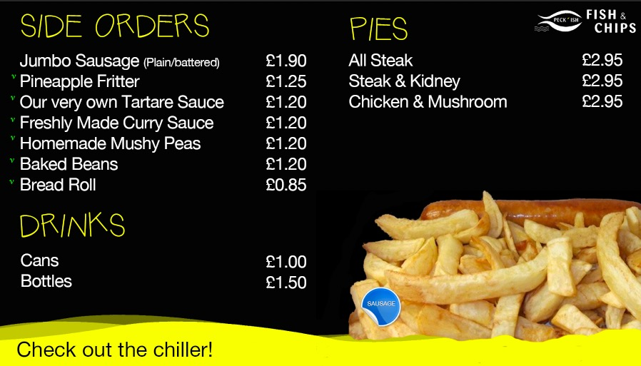 Peckish fish and chips menu 3