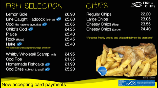 Peckish fish and chips menu